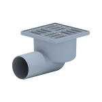 Трап пласт. н/регул.гориз. d=50 мм 100х100 мм, мет.решетка, сух.затвор