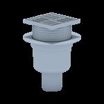 Трап пласт. регул.вертик. d=50 мм 100х100 мм, мет.решетка, гидрозатвор