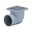 Трап пласт. н/регул.гориз. d=110 мм 150х150 мм, мет.решетка, гидрозатвор