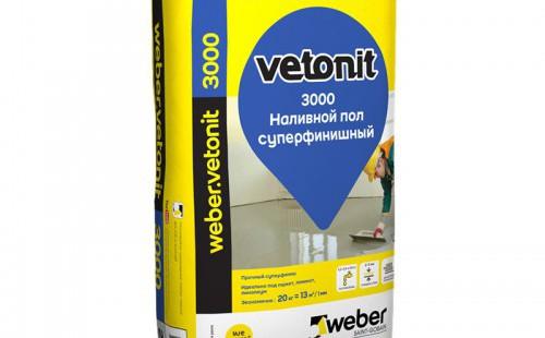 Weber.Vetonit 3000 Наливной пол суперфинишный (20 кг)