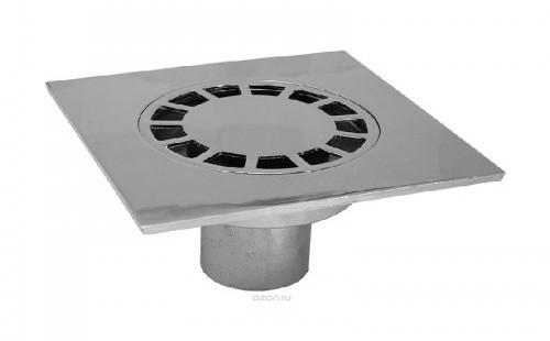 Трап TULIPS прямой 150x150 мм d=50 мм хром