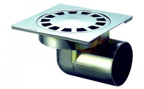 Трап мет. н/регул. гориз. d=50 мм 100х100 мм, гидрозатвор