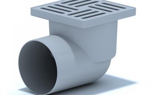 Трап пласт. н/регул.гориз. d=50 мм 100х100 мм, мет.решетка, гидрозатвор