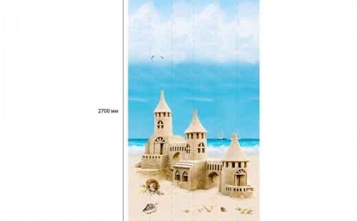 """АКВАТОН Панель ПВХ пласт. """"Панорама Новита"""" Пляж Песочный Замок (Узор) 2,7*0,25 (уп=12шт=8,1м2)"""