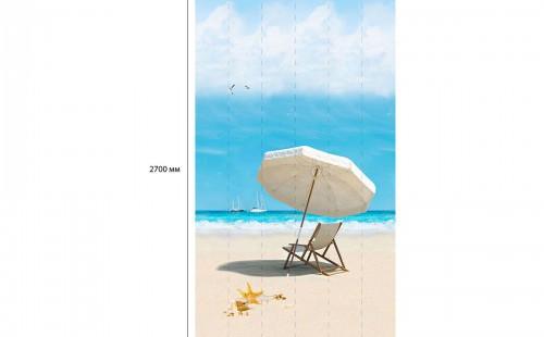 "АКВАТОН Панель ПВХ пласт. ""Панорама Новита"" Пляж Зонтик с Шезлонгом (Узор) 2,7*0,25 (уп=12шт=8,1м2)"