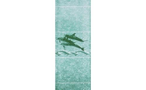"""АКВАТОН Панель ПВХ пласт. """"Фриз"""" Дельфины Морская Волна 2,7*0,300 (уп=10шт=8,1м2)"""